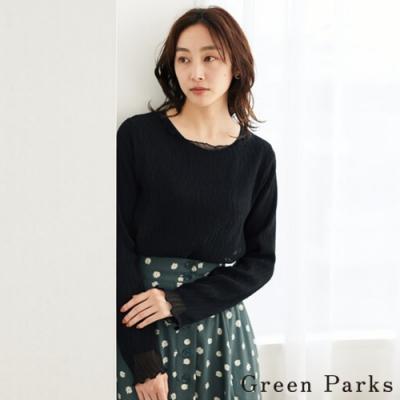 Green Parks 【SET ITEM】透膚雪紡上衣+基本針織上衣