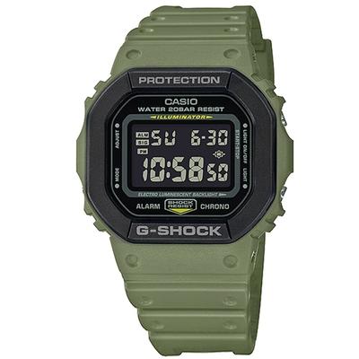 G-SHOCK 經典雙層錶圈休閒電子錶-綠X黑(DW-5610SU-3)/43.8mm