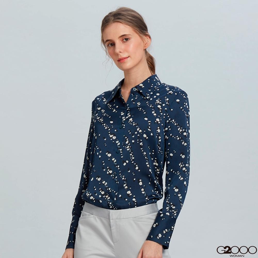 G2000印花長袖休閒上衣-深藍色