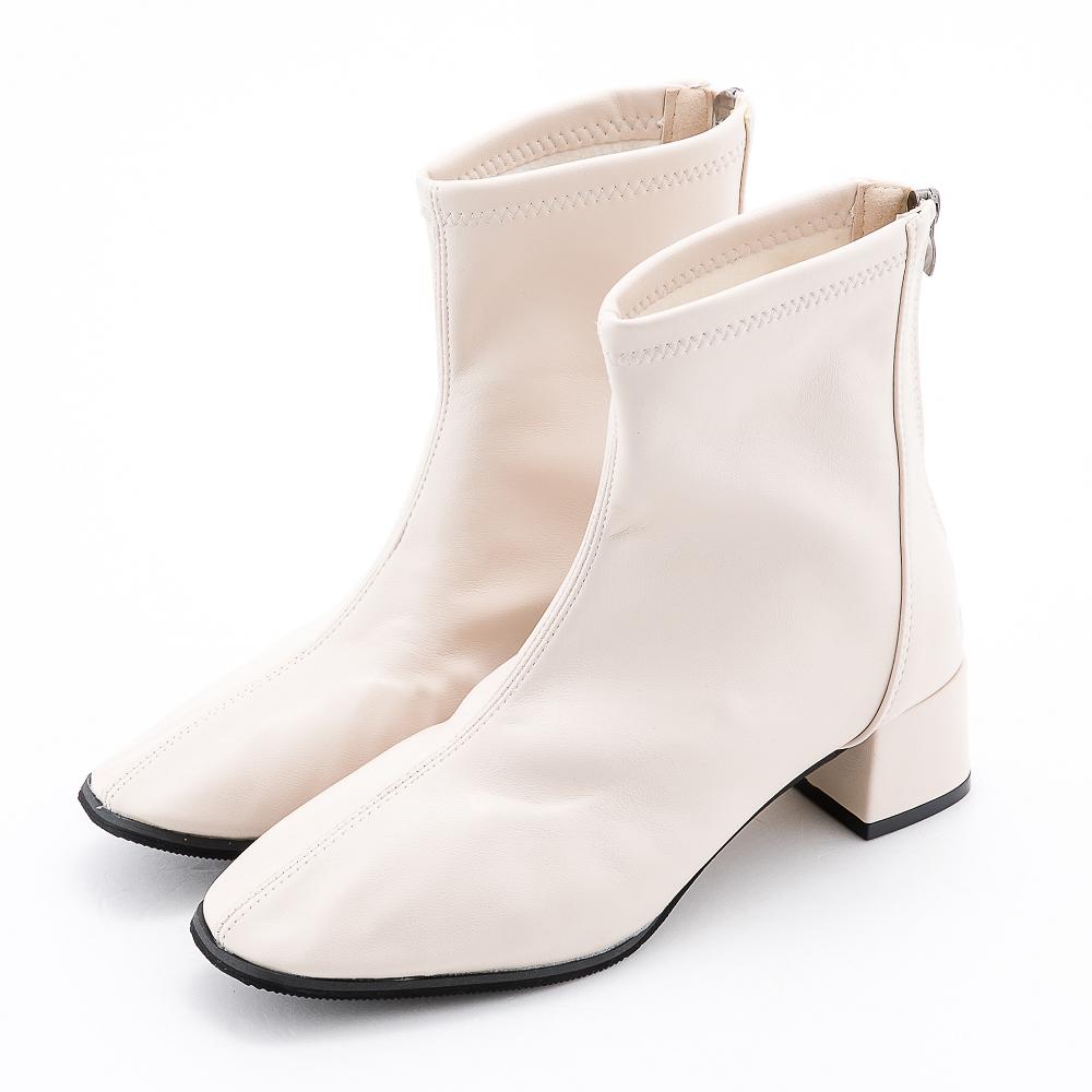 River&Moon韓系軟皮方頭造型粗跟靴 米白(36碼-43碼)
