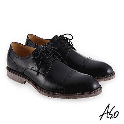 A.S.O 健步通勤 復古風尚紳士鞋 黑