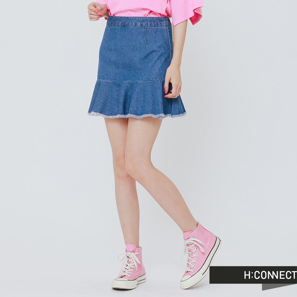 H:CONNECT 韓國品牌 女裝 - 不收邊魚尾牛仔短裙-藍(快)