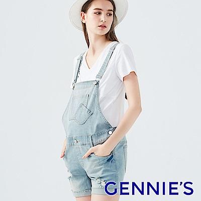 Gennies專櫃-美式復古刷破牛仔吊帶短褲-淺/深(TJD01)