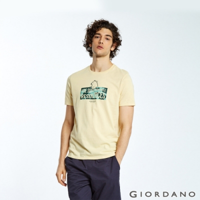 GIORDANO 男裝DEAR WORLD系列印花T恤-72 迷濛霧海