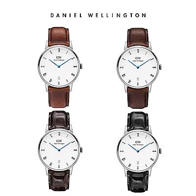 【時時樂限定】DW 手錶 34mm Dapper銀框真皮皮革錶(四款任選)