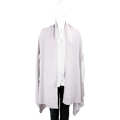 MARELLA 純色羊毛開襟淺灰罩衫/披肩