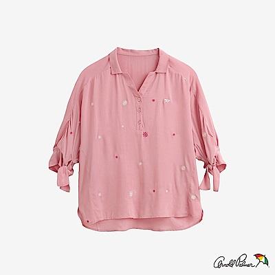 Arnold Palmer-女裝-雛菊繡花半開襟襯衫-粉