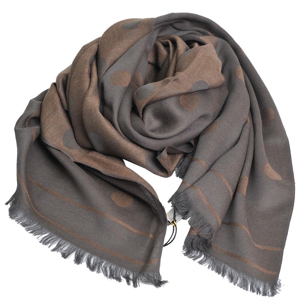 Paul Smith 繽紛原點圖騰雙面配色絲毛混織薄造型圍巾(灰/咖啡)