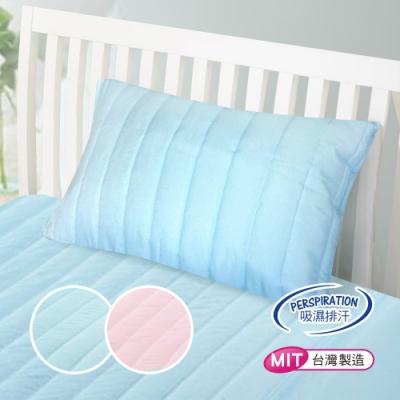 【精靈工廠】專利防潑水抗螨抑菌舒柔鋪棉枕套 兩色任選