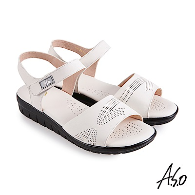 A.S.O 機能休閒 挺麗氣墊牛皮沖孔休閒涼鞋-白