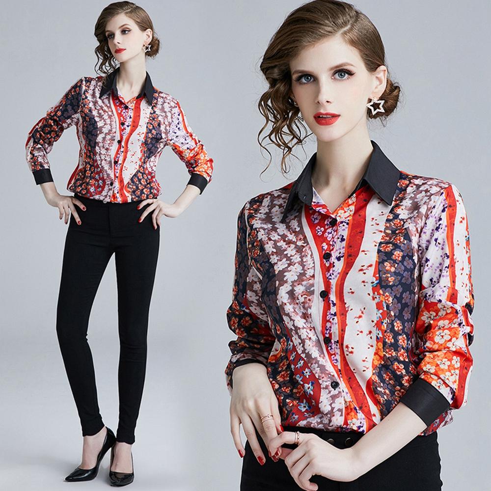時尚花色拼接翻領排釦襯衫S-XL-M2M