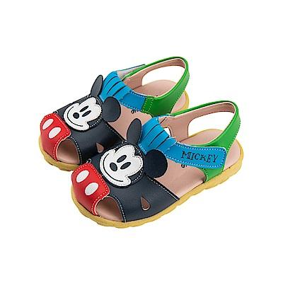 迪士尼 米奇 可愛復古造型 職人手工魔鬼氈涼鞋-藍