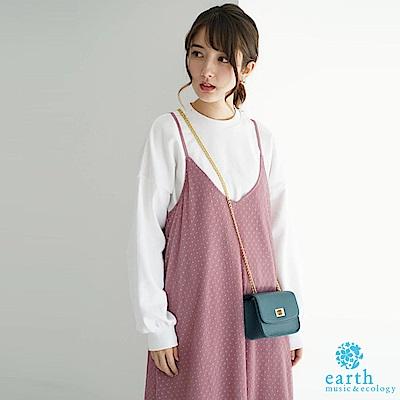 earth music 【SET ITEM】點點薄紗吊帶洋裝+素面長袖上衣
