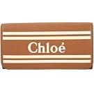 CHLOE VICK 撞色條紋小牛皮釦式長夾(糖棕色)