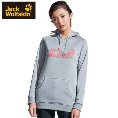 【Jack Wolfskin 飛狼】女 連帽長袖排汗T恤 長版 (內刷毛保暖)『灰』