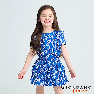 GIORDANO 童裝滿版休閒印花荷葉褲裙-11 海底藍X冬天奶油