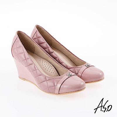 A.S.O 雅緻魅力 職場通勤經典菱格紋楔型鞋 粉紅