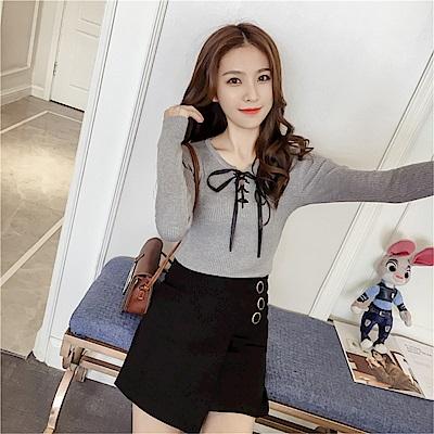 DABI 韓版圓領蝴蝶結綁帶修身顯瘦針織衫長袖上衣