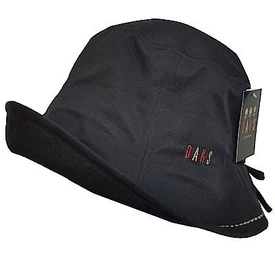 DAKS 日本製抗UV科技纖維格紋滾邊LOGO字母刺繡蝴蝶結遮陽帽(黑)