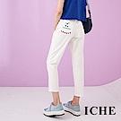 ICHE 衣哲 時尚字母刺繡印花挺版高磅棉直筒百搭造型長褲-白