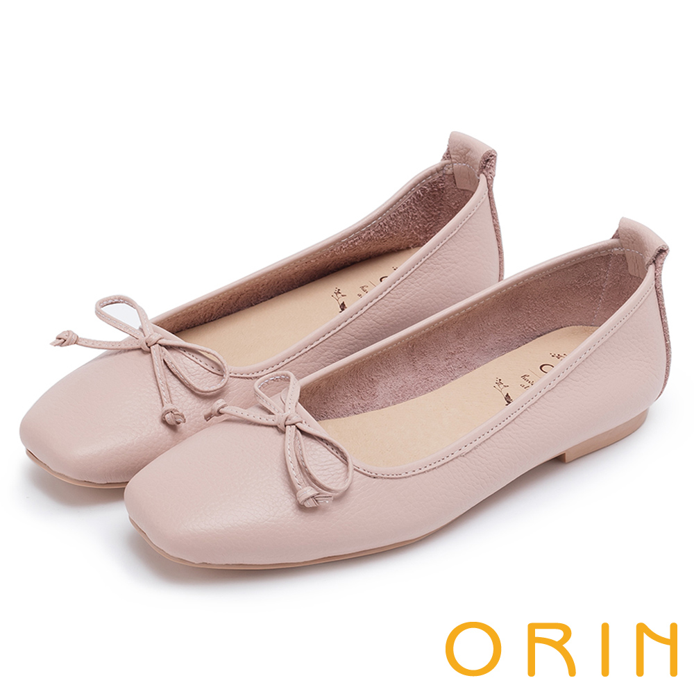 ORIN 氣質女孩 經典素面牛皮平底娃娃鞋-粉紅