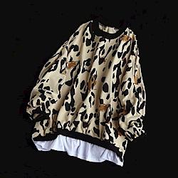 豹紋印花寬鬆假兩件t恤內搭衫休閒上衣-設計所在