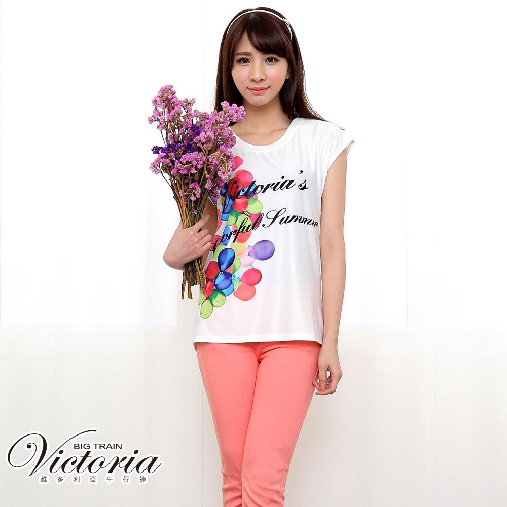 Victoria 中腰剪接後染窄管色褲-女-粉色