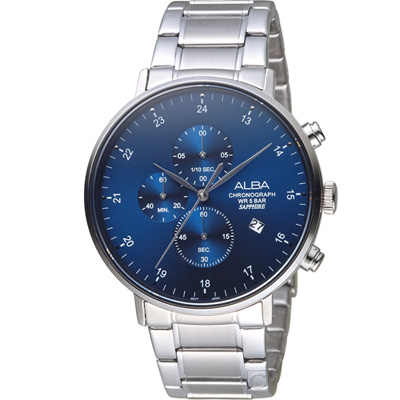 ALBA 雅柏 流星獵狐計時腕錶(AM3667X1)藍/44mm