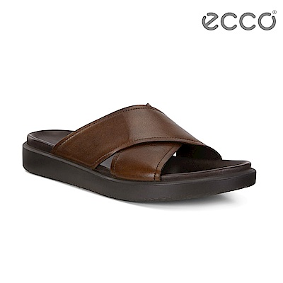 ECCO FLOWT LX M 簡約質感交叉寬帶涼拖鞋 男-深褐色