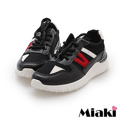 Miaki-休閒鞋.透氣輕量加厚運動鞋-黑
