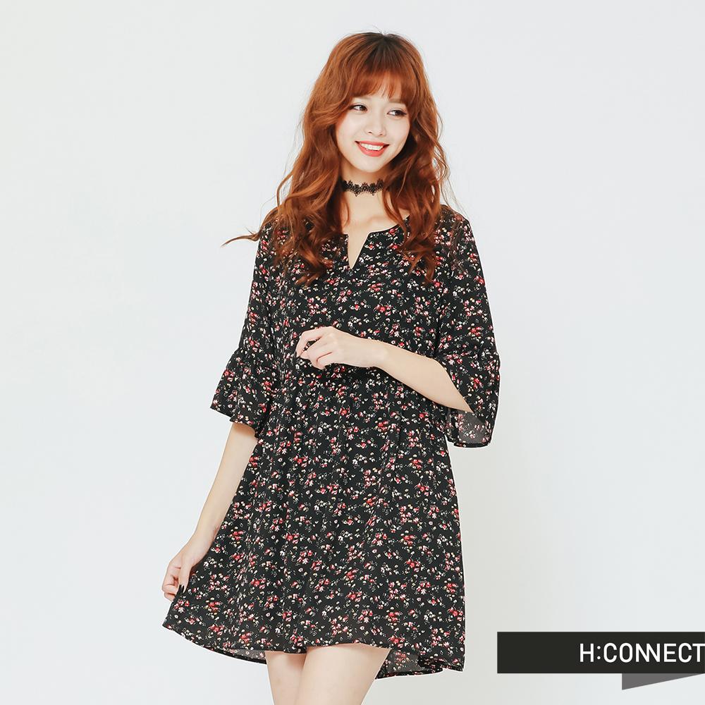 H:CONNECT 韓國品牌 女裝 五分袖碎花短洋裝-黑(快)