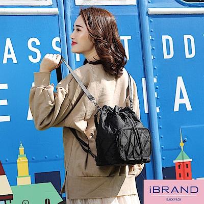 iBrand 簡約口袋3WAY水桶包後背包-菱格紋
