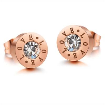 I-Shine-LOVE字母-西德鋼圓形鑲鑽鈦鋼耳環DA03