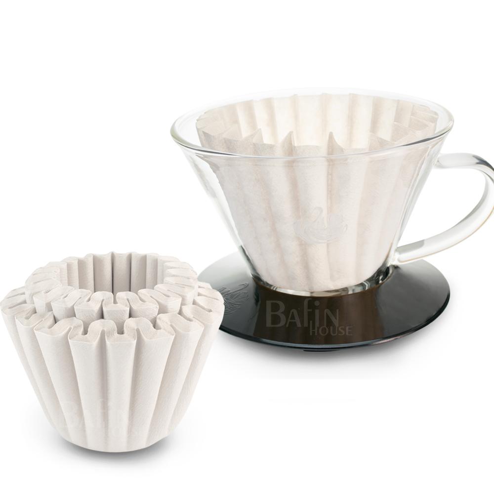 Kalita 蛋糕形濾紙50張+達人咖啡 NO.10 玻璃濾杯(1-4人份)