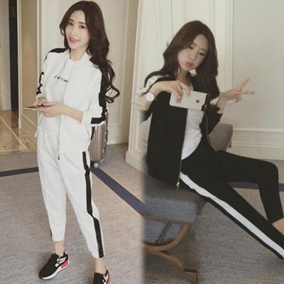【韓國K.W.】(預購) 柔美簡約運動兩件套套裝褲