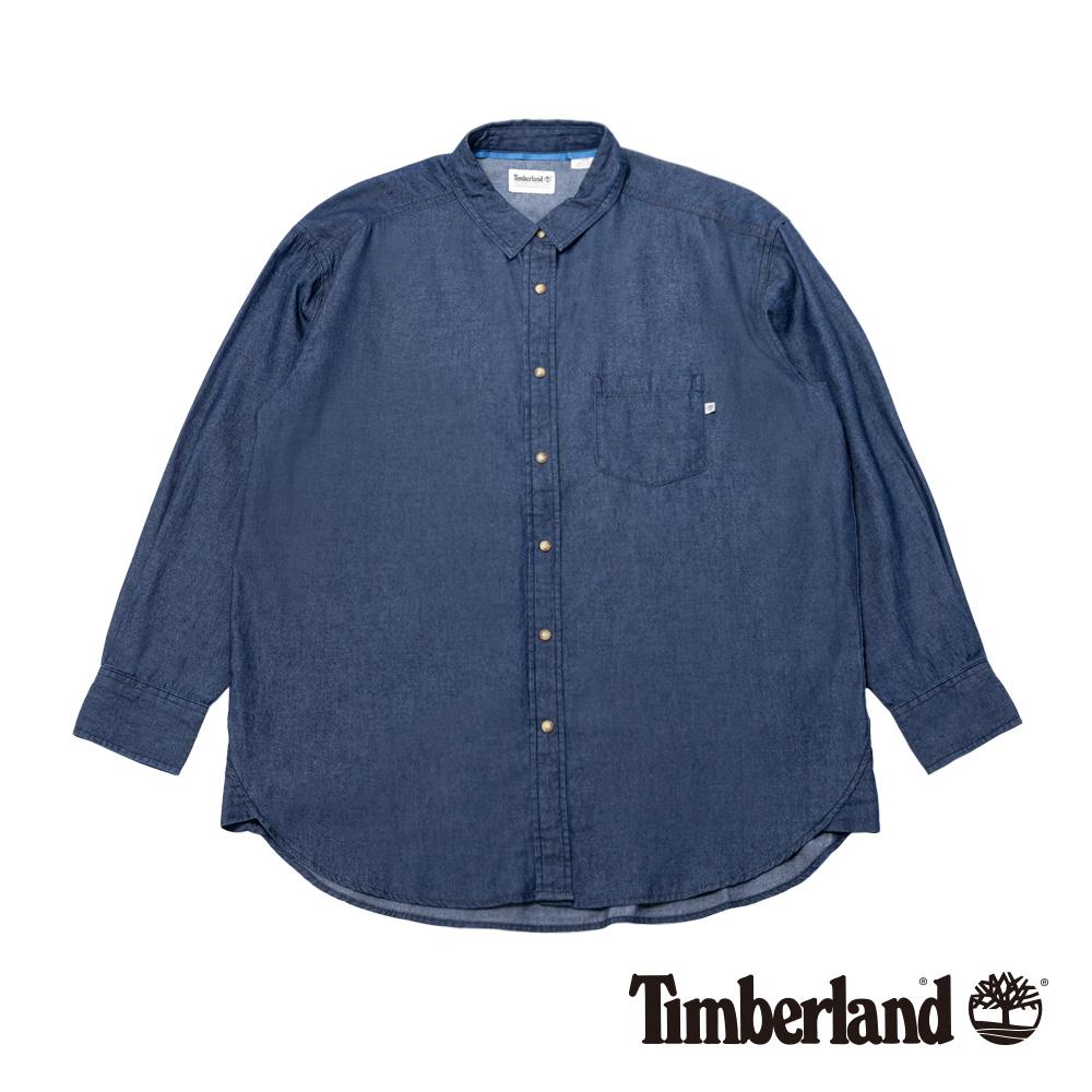 Timberland 女款復古淺靛藍洗色舒適寬鬆長款牛仔襯衫|B2404
