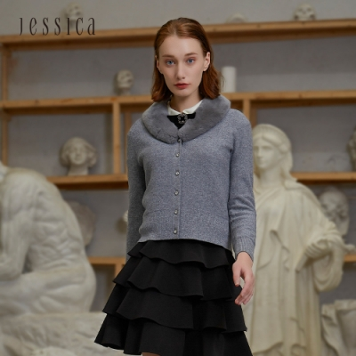 JESSICA - 灰色精緻百搭羊毛混紡毛領短款針織開衫外套