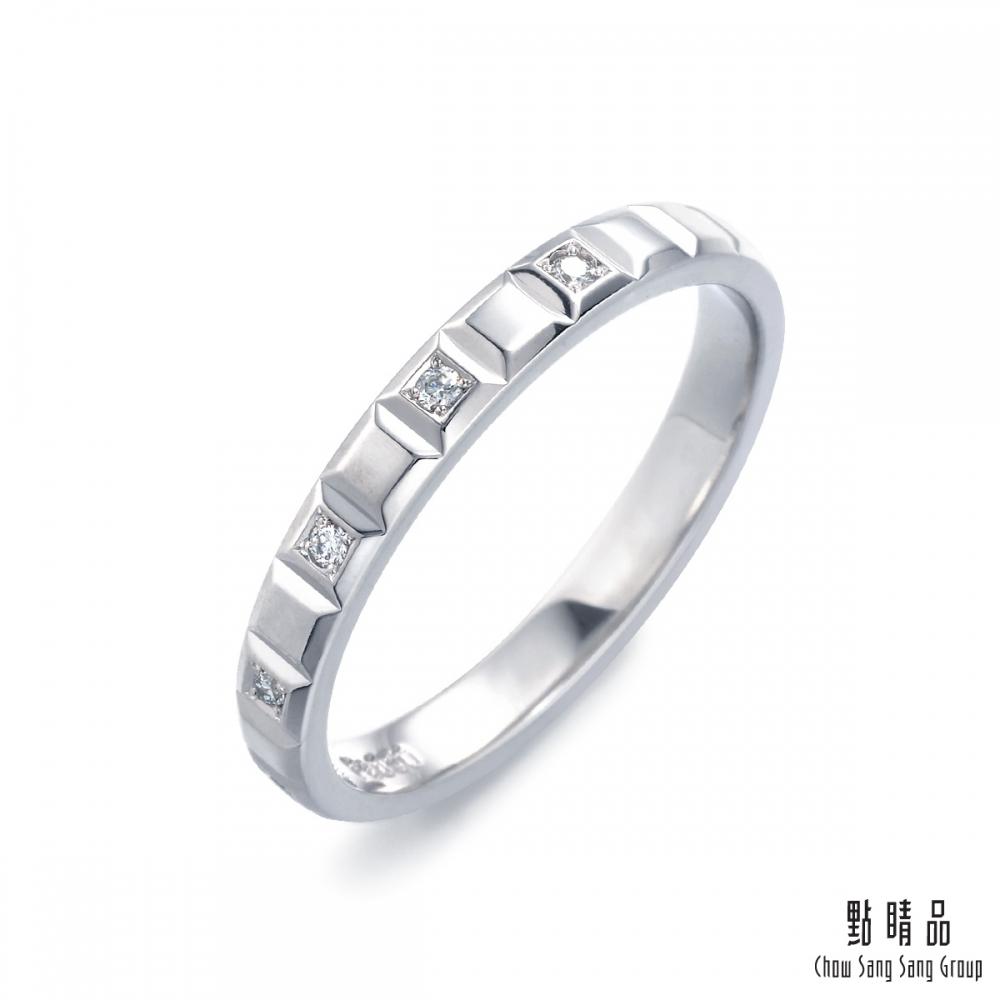 點睛品 Promessa 星光燦爛 鉑金鑽石戒指-男戒