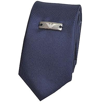 EMPORIO ARMANI 義大利製經典金屬徽章LOGO圖騰絲質窄版領帶(海軍藍)