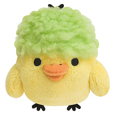 拉拉熊變裝小雞系列掌心公仔。綠藻頭戴綠帽 San-X