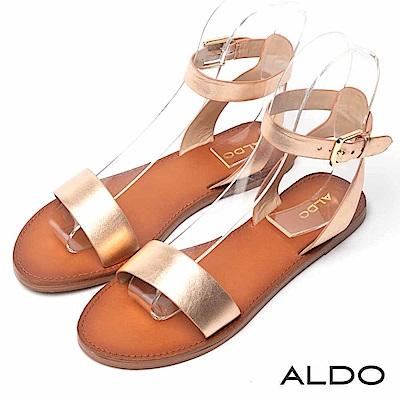 ALDO 原色真皮寬版金屬釦帶交叉繫踝木紋跟涼鞋~香檳金色
