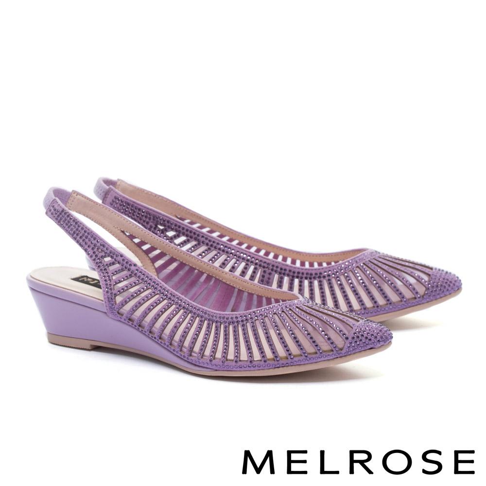 高跟鞋 MELROSE 優雅線條晶鑽鏤空羊麂皮繫帶尖頭高跟鞋-紫