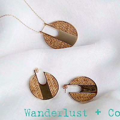 [時尚套組] Wanderlust + Co 金色藤編耳環&項鍊