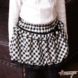 Anny可愛經典黑白格紋花苞蕾絲短裙*6267黑