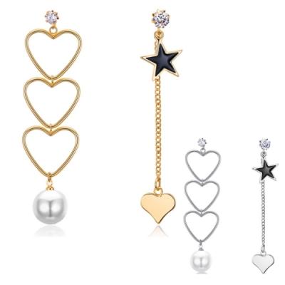 I-Shine-正白K-新潮-歐美潮流不對稱不規則愛心珍珠垂墜耳環DB23