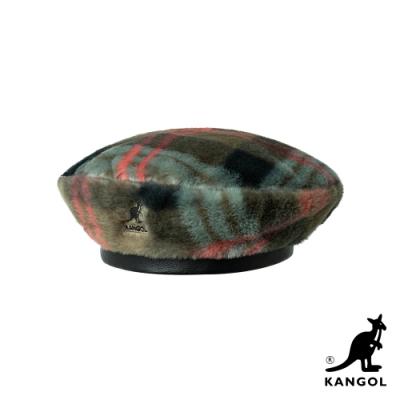 KANGOL-FAUX FUR 貝蕾帽-灰褐格紋