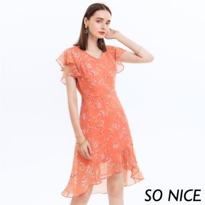 SO NICE浪漫花卉印花荷葉雪紡洋裝