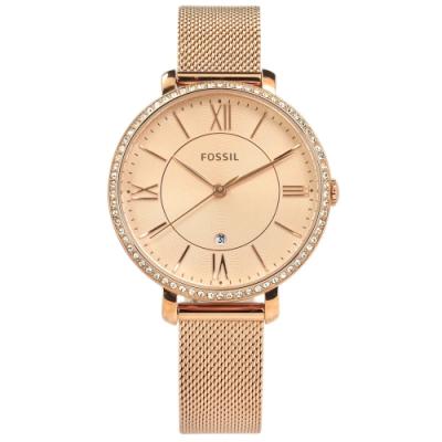FOSSIL 晶鑽鑲圈 羅馬刻度 礦石強化玻璃 米蘭編織不鏽鋼手錶-鍍玫瑰金/36mm