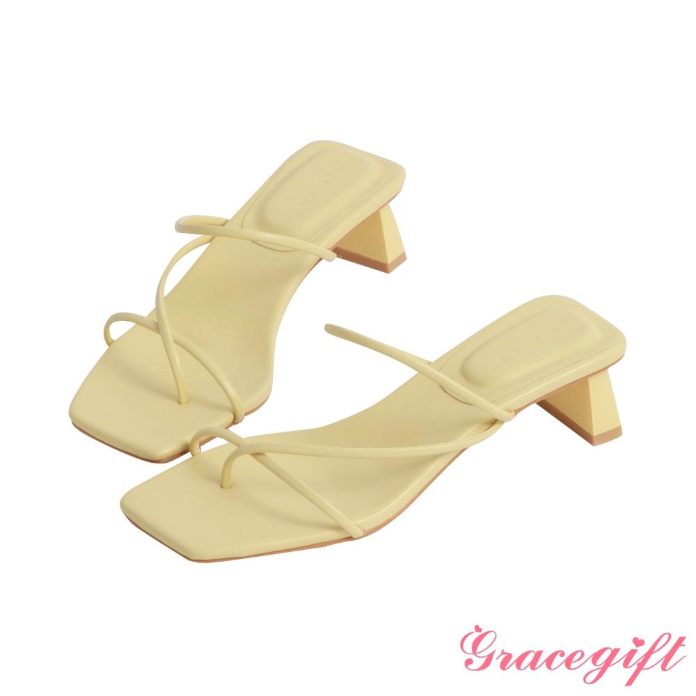 Grace gift-層次細帶中跟涼拖鞋 淺黃