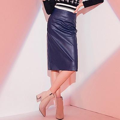 AIR SPACE LADY 質感開衩高腰直筒皮裙(藍)